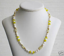 Freshwater Pearl & Yellow Millefiori Bead Necklace