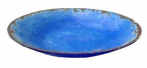 Rustic Melamine Large Fruit Salad Bowl Azure Blue Picnic Outdoors Motorhome