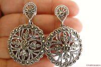 Marcasite Ornate 925 Sterling Silver Dangle Post Earrings