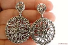 Marcasite Ornate 925 Sterling Silver Dangle Post Earrings