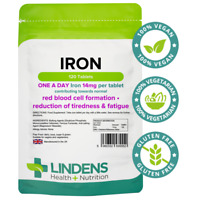 Lindens Iron 14mg 1 A DAY 100 Tablets Iron Ferrous Fumarate Quality Supplement
