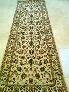 """Cream Hand Knotted Hallway Area Rug Runner with Rich wool pile 99""""x32"""""""