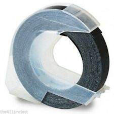 """3/8"""" 9mm Dymo Self Adhesive 3D Glossy BLACK Label Maker Refill Labeling Tape NEW"""