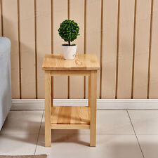Mini Coffee Table Pine Wood Bedside Table Telephone Lamp Display Plant Stand