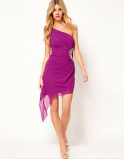 Lipsy Purple One Shoulder Asymmetric Hem Jewel Dress 14 Evening Party Occasion