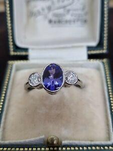Platinum Tanzanite & Diamond Trilogy/3 Stone Ring