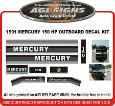 1991 1992 1993  MERCURY 150 Black Max Reproduction Decals 135 hp also
