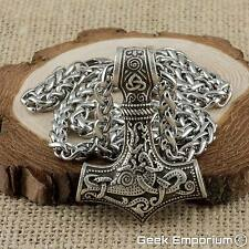Viking Thor's Hammer Silver Mjolnir With Steel Keel Chain Necklace