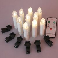 TBW LED Flameless Taper Ivory Candles with Remote and Removable Clips, Drip