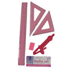 Maths Set-30cm Ruler Compass Eraser 2x Set Squares Pink