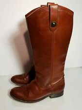 FRYE Melissa Button Tall Brown Leather Riding Boots 8 B $395  77167