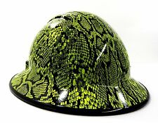 HardHatGear Custom Hydro Dipped VENTED Full Brim Hard Hat in Hi Viz Python - Mad