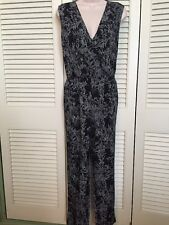 Ann Taylor Deep Navy Blue And White Jumpsuit Size Small 100% Polyester EXCELLENT