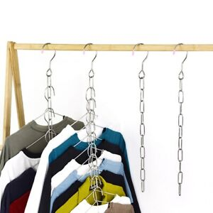 Stainless Steel Clothes Market Shop Display Hanging Chain Hooks With Ring-Hanger