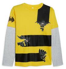Licensed Lego Batman DC Comics Long Sleeves T-shirt for Boys, Yellow and Grey