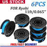 6PACK String Trimmer Weed Eater Line for Ryobi 18/24/40V Replace Spool AC14RL3A