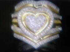 14K & SS  HEART DIAMOND WEDDING ENGAGEMENT RING  3 PC SET  SIZE 4-7 + BONUS