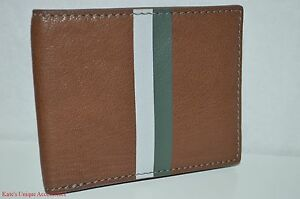 $45 Fossil Brand Genuine Leather Jet Bifold Med Brown Men's Wallet Valentine