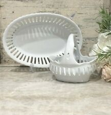 French Country Antique White Pierced 2-Piece Set Tray and Basket by Godinger NEW