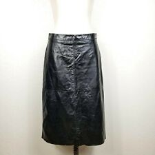 Gap 100% Leather Skirt  Size 4 Black Lined Pencil Straight Midi Length