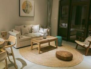 Rug Natural Jute Round 100% Handmade Braided Reversible Home Decorative Look Rug