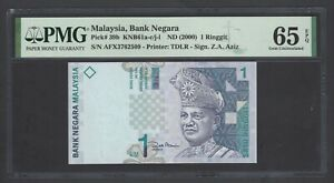 Malaysia One Ringgit ND(2000) P39b Uncirculated Graded 65
