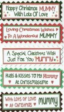 5 MUMMY &/or DADDY CHRISTMAS Greeting Card Craft Sentiment Message Banner Tags