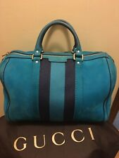 Authentic Gucci Boston Bag Turquoise Suede w Blue Canvas Web Band