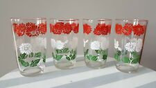 Swanky Swig Juice Glasses Bachelor Button Red White Flower Green Leaves Lot 4