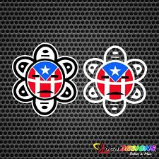 2x PUERTO RICO SOL TAINO WITH FACE FLAG VINYL CAR STICKERS DECALS