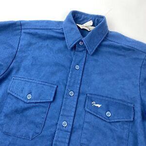 DUXBAK Vintage Made USA Blue Chamois Flannel Button Down Shirt Size Medium