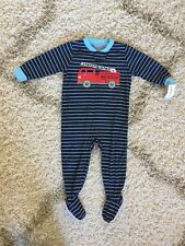 New Nwt Carter's Fire Truck Striped One Piece Footed blue Pajama Boys Size 18 Mo