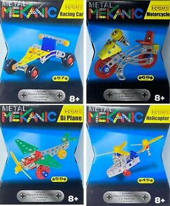 Kids DIY Construction Kit Metal Car Bike Plane Helicopter Model Toy Mekanic 8 +