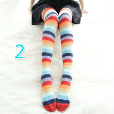 Lady Girl Rainbow Striped Long Socks Thigh Hosiery Multicolor Lolita Kawaii Chic