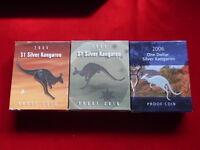 Australia. 1oz  Silver Kangaroo ($1) : 2004,2005,2006.  Cased PROOFS