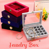 Jewelry Earring Ring Display Organizer Case Storage Box Tray Holder Flannel  UK