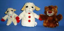 Shari Lewis plush Lamb Chop & Kelsey's Lion hand puppets;Lamb Chop beanbag LOT-3
