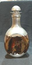 """🎄VINTAGE ROYAL HOLLAND DAALDEROP DECANTER PINCHED AMBER GLASS & PEWTER 10"""" TALL"""