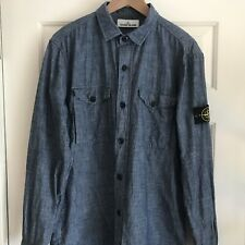 Stone Island Blue Denim Overshirt Mens XL Shirt