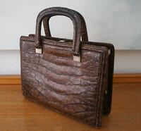 Goldpfeil Tasche, Vintage Handtasche Leder mit Krokoprägung braun, Original 50er