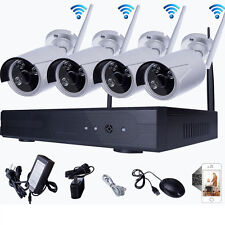 8CH WiFi 4PCS Outdoor 1.0MP NVR 720P Wireless IR Home Security IP Camera System
