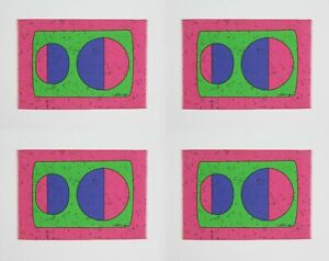 Vintage 1960s Set Of 4 Abstract Circle Pattern Fabric Table Mats - Signed Retro