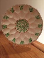 Deviled Egg Tray 24 ct Round Ivory Ceramic Platter w/ Green Leaves Gold Trim VTG