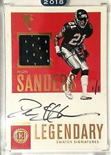 2016 Encased DEION SANDERS 1/1 On Card AUTO Game Used Jersey PATCH Relic Falcons