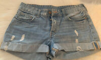 H&M Button Fly Cuffed Jean Shorts Distressed Size 8 Light Blue Wash Mid-Rise EUC