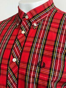 Fred Perry   Short Sleeve Tartan Shirt XL (Red) Mod Scooter Skins Casuals 60's