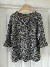 Cable Knit Jumper by F&F Black/White Marl 3/4 Sleeves Pull Over UK Size 16 40.5""