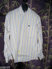 Faconnable Blue & Yellow striped Button down Shirt Mens Size Large