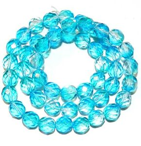 """CZ4120 Crystal & Blue 8mm Fire-Polished Faceted Round Czech Glass Beads 16"""""""