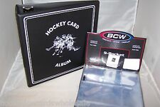 "1 BCW Black Hockey Card Storage 3"" D-Ring  Album Binder & 100 Pages"